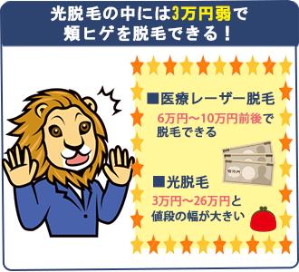 頬ヒゲ脱毛を安く受けれるのは光脱毛。3万幸円~26万円と値段の差が大きいのでサロンごとの値段をしっかり確認すること。