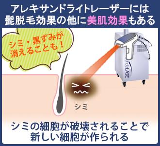 アレキサンドライトレーザーはメラニン色素に反応しやすいので、肌のシミの細胞も破壊できる