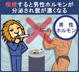 タバコ(喫煙)は男性ホルモンが分泌され髭が濃くなる