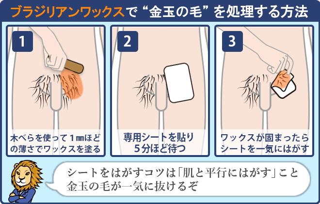金玉の毛をブラジリアンワックスで処理する方法