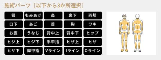 【メンズキレイモ】選べる3箇所パックプラン 対応部位
