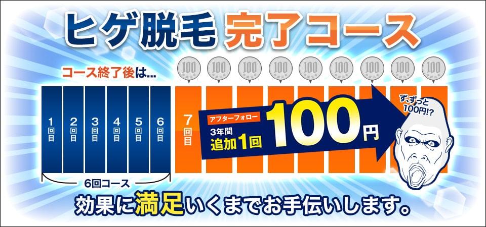 ゴリラクリニック髭脱毛のコース終了後100円キャンペーン