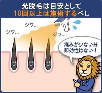 光脱毛の施術回数目安は約10回